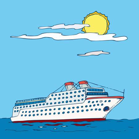 ocean liner: White Ocean Liner isolated on white background