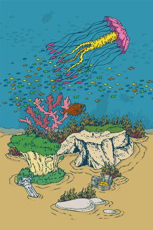handdrawn: Underwater World. Cartoon Color Vector Illusttration. Hand-drawn