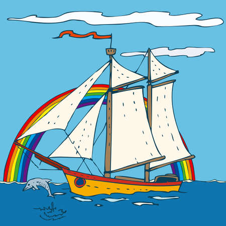 brigantine: Sailing Ship with with blue sky and ocean. Vector illustration