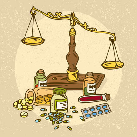 gp: Medicine and Health. Pharmaceutical Scales and pills Illustration