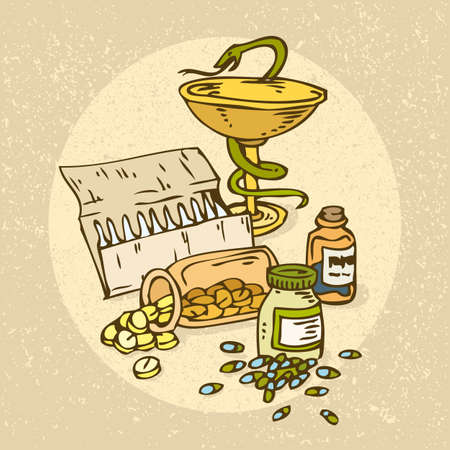 snake and a bowl: Medicine and Health. Bowl with a Snake and pills Illustration