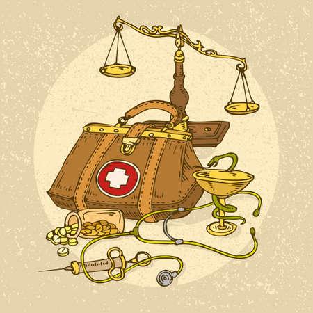 Medicine and Health. Cartoon Vector illustration in vintage style