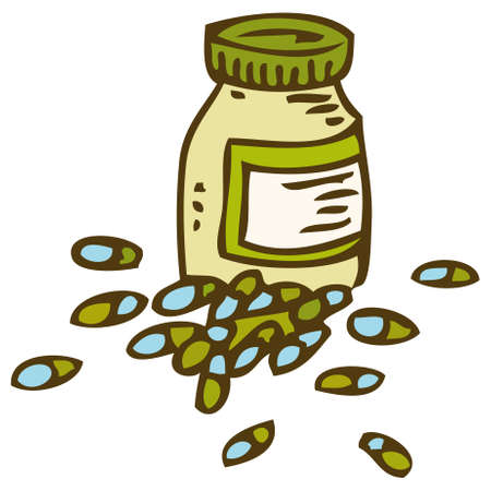 gp: Bottle With Capsules Isolated on White Backgroumd Illustration