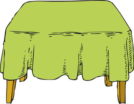 tablecloth: Table with Green Tablecloth. Isolated on white background