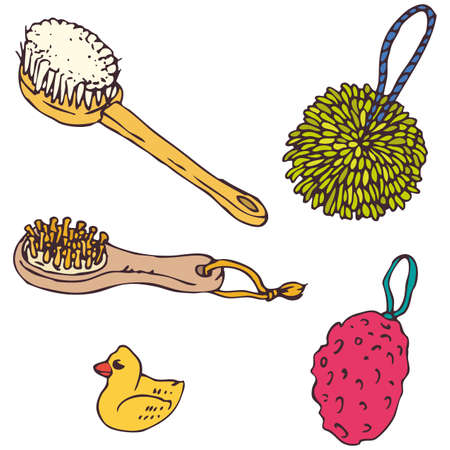 Bathroom Elements. Sponges and Brushes Set. Hand Drawn Cartoon Vector  Illustration. Isolated on White Background 向量圖像