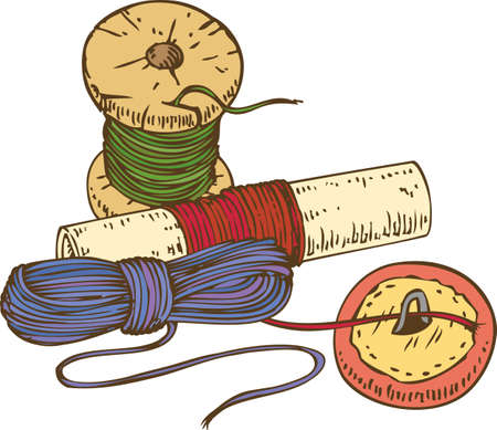 hank: Three Color Spools of Thread and Button. Isolated on White Background Illustration