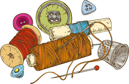 hank: Three Color Spools of Thread, Buttons, Thimble and Pin. Isolated on White Background