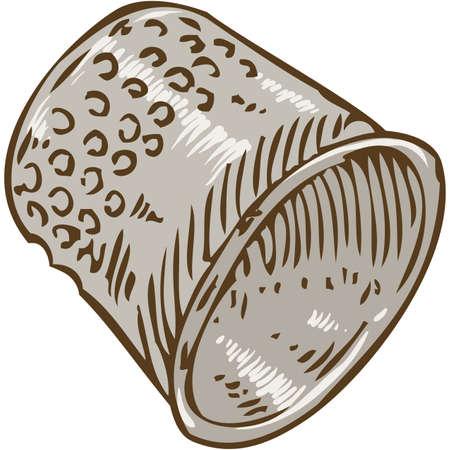thimble: Steel Thimble. Isolated on White Background. Hand Drawn Illustration