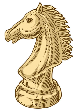 chessman: Ivory Chessman Knight. Isolated on White Background