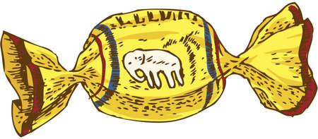 sweetmeats: Sweet Candy amarillo. Aislado en el fondo blanco