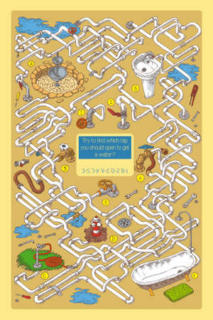 sanitary engineering: Maze Game with Tubes, Valves and Sanitary Engineering. Vector Illustration