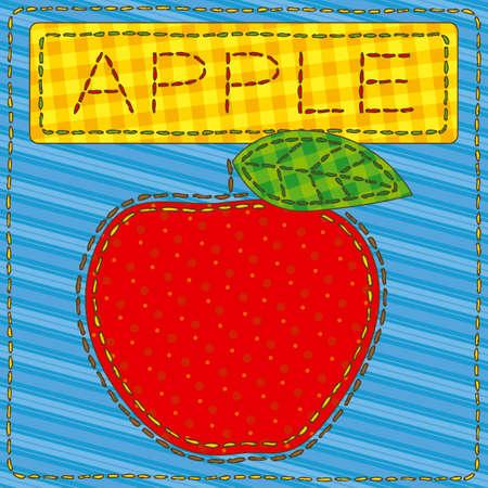 big apple: Funny patchwork with a big red apple. Vector illustration Illustration