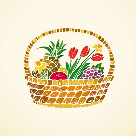fruits in a basket: Basket with fruits and flowers on a beige background. Vector illustration