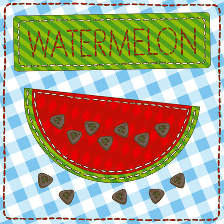 patchwork: Funny patchwork with watermelon and buttons.  Illustration