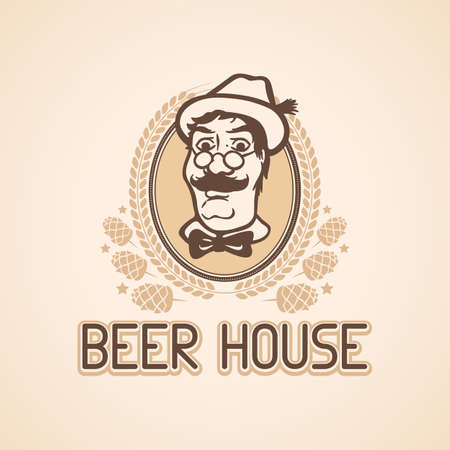 beer house: Beer House Template with Man in Hat