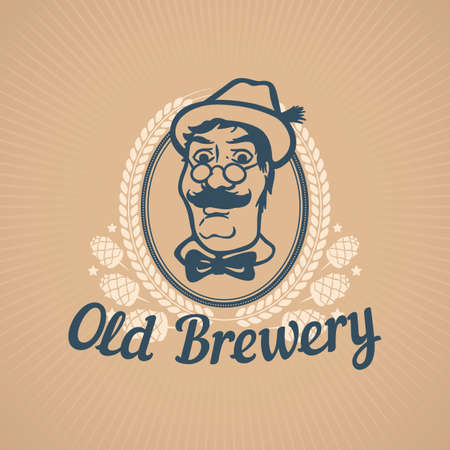 beer house: Old Brewery or Beer House Template with Man in Hat Illustration