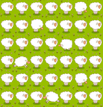 Rows of White Sheep Grazing On a Green Meadow. Seamless Vector Pattern