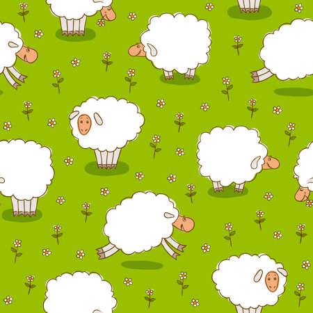 White Sheep Grazing On a Green Meadow. Seamless Vector Pattern