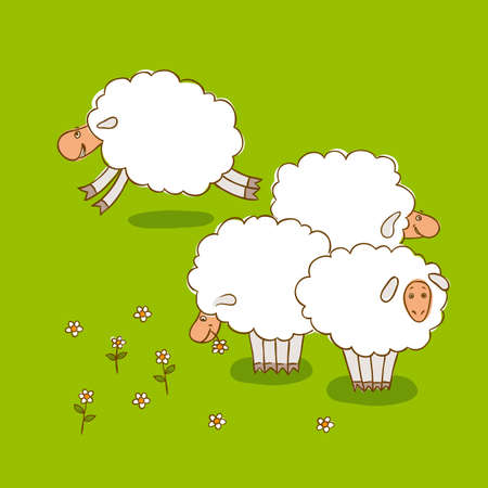 cartoon summer: Four White Sheep Grazing On a Green Meadow. Vector illustration
