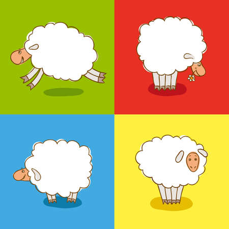 cheerful cartoon: Four White Sheeps Isolated on a colored background. Vector illustration Illustration