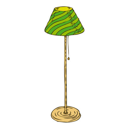 floor lamp: Vintage Green Floor Lamp Isolated on White Background