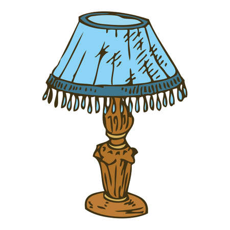 lampshade: Vintage Table Lamp With Blue Lampshade Isolated on White Background Illustration