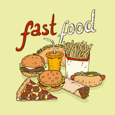 unhealthy food: Fast Food Composition with Dring, Burger, Pizza, Taco, Burrito, Hot Dog and Fries. Vector illustration