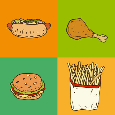 burger cartoon: Fast Food Set with Burger, Hot Dog,Chicken and Fries. Vector illustration
