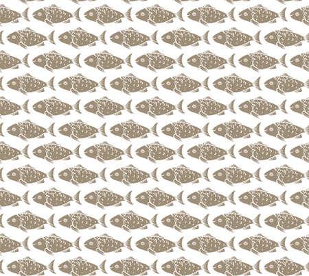 crucian: Brown Fish on White Background Seamless Pattern