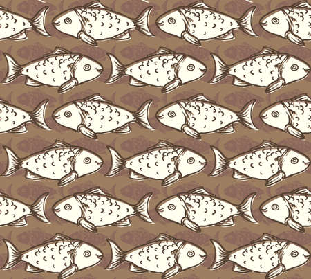 crucian: Beige Fish on Brown Background Seamless Pattern