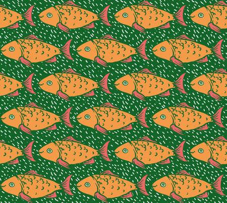 crucian: Orange Fish on Green Background Seamless Pattern