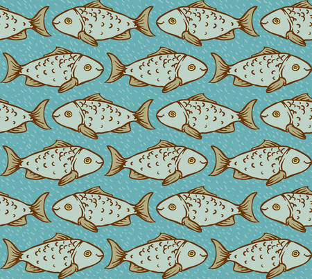 blue fish: Vector Seamless Pattern with Fish on Blue Background