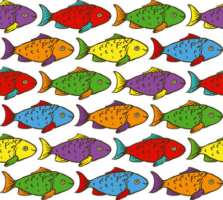 crucian: Funny Seamless Pattern with Rainbow Fish on White Background Illustration