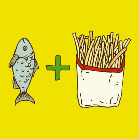 fish and chips: Fish and Chips. Poster on Yellow Background