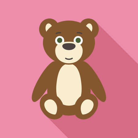 cute teddy bear: Teddy Bear in Flat Style with Long Shadows on Pink Background