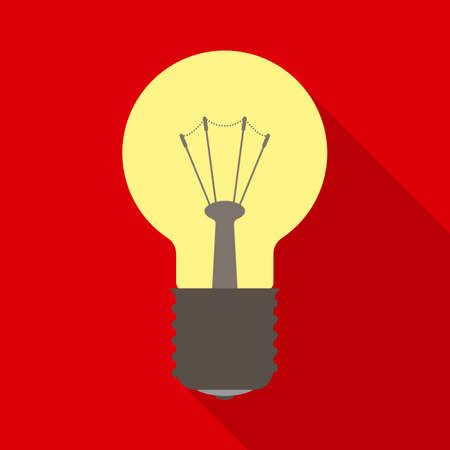 metal filament: Yellow Light Bulb in Flat Style with Long Shadows on Red Background