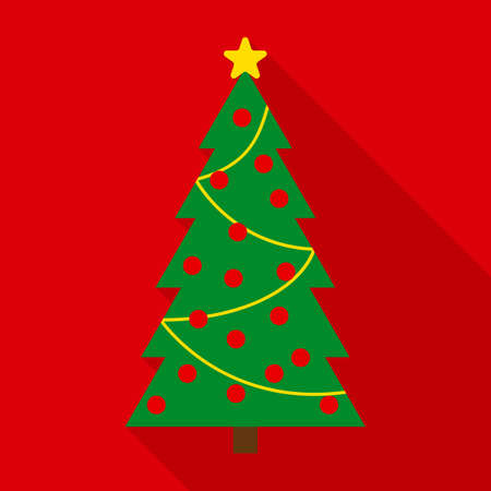 decorated christmas tree: Christmas Tree in Flat Style with Long Shadows on Red Background