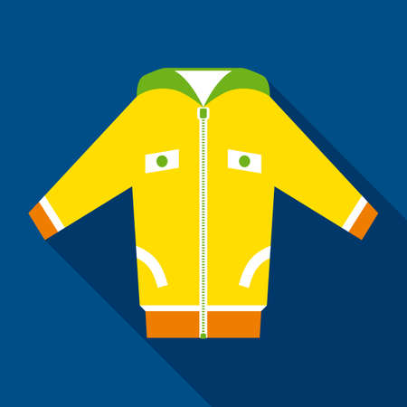 yellow jacket: Yellow Jacket in Flat Style with Long Shadows on Dark Blue Background