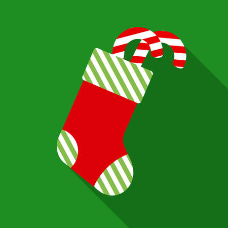 peppermint candy: Christmas Sock with Peppermint Candy Cane in Flat Style with Long Shadows