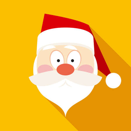 claus: Santa Claus Face in Flat Style with Long Shadows on Yellow Background Illustration