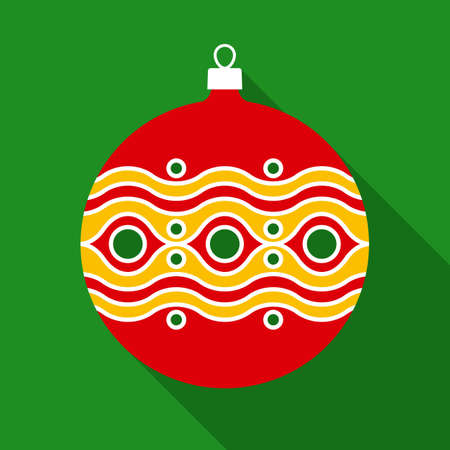 shape cub: Red Christmas Ball in Flat Style with Long Shadows on Green Background