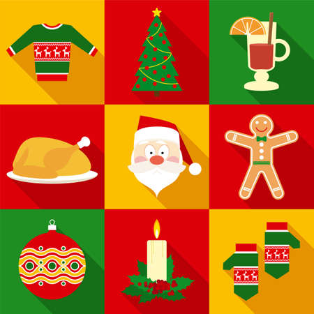 clothes cartoon: Christmas Symbols Set in Flat Style with Long Shadows