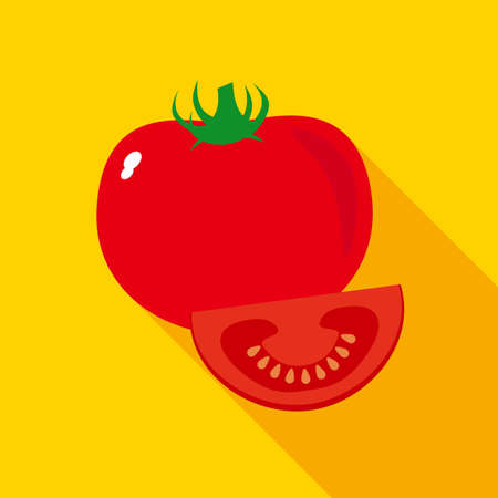 veggies: Red Ripe Tomato with Slice in Flat Style with Long Shadows on Red Background Illustration