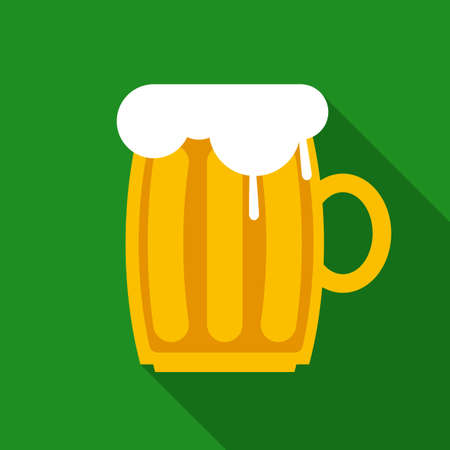 overflowing: Overflowing Beer Mug in Flat Style with Long Shadows on Green Background