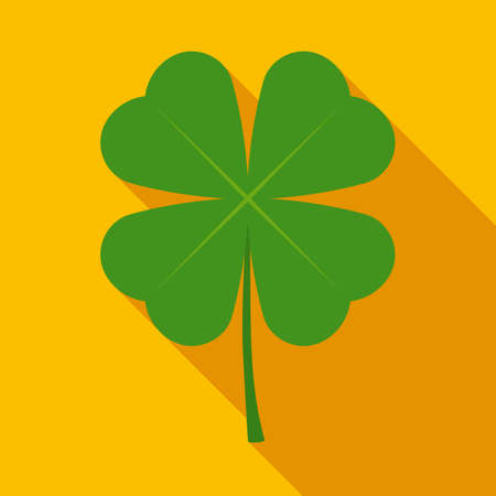 fortunate: Four Leaf Clover in Flat Style with Long Shadows on Gold Background Illustration