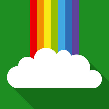 festal: Rainbow and White Cloud in Flat Style with Long Shadows on Green Background