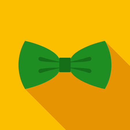 tie: Green Bow Tie in Flat Style with Long Shadows on Gold Background Illustration