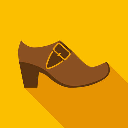 festal: Brown Leather Leprechaun Shoe with Gold Buckle in Flat Style with Long Shadows on Gold Background Illustration