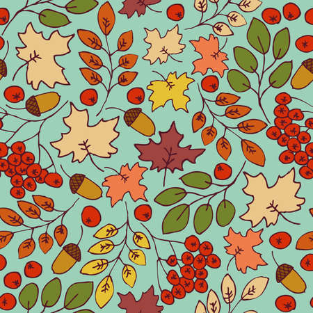 acorn: Autumn seamless pattern. Maple Leaves, Rowanberries and Acorns on a Turquoise Background