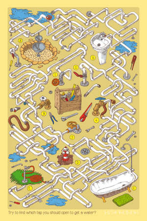 sanitary engineering: Maze Game with Tubes, Valves and Sanitary Engineering.
